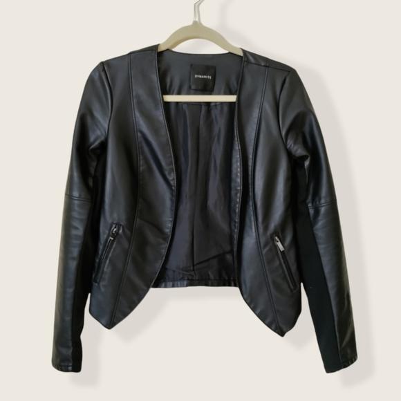 Dynamite Black Faux Leather Jacket size small